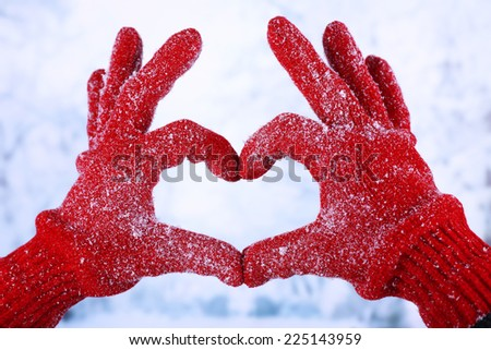 Woman's hands in red gloves on winter natural background - stock photo