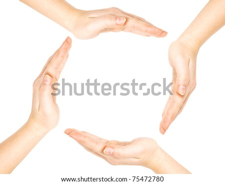 Woman's hands made circle on white background