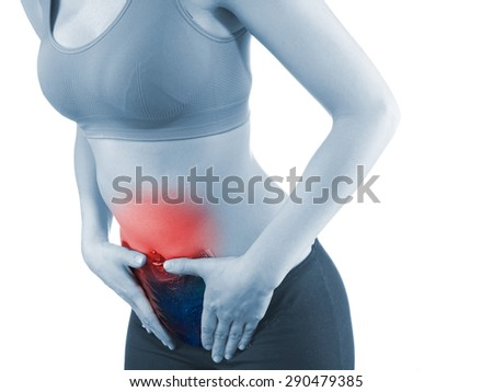 Woman's hands on stomach with Ice Packs for Pain Relief.  Pain medical concept. - stock photo
