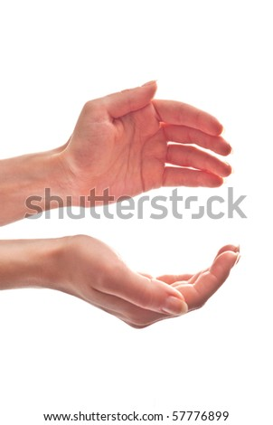 Woman's hands open. Isolated on white - stock photo