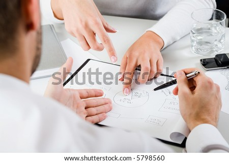 Woman's hands pointing on the resources of new project
