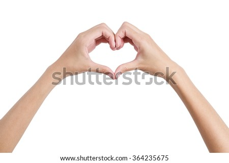 Woman's hands shaping a heart symbol back side, Isolated on white background.