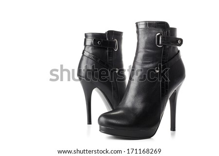 woman's high heel shoes isolated on white background with copyspace  - stock photo