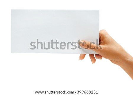 Woman's hold envelope isolated on white background. Close up - stock photo