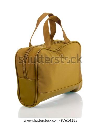 Woman's khaki bag isolated on white - stock photo