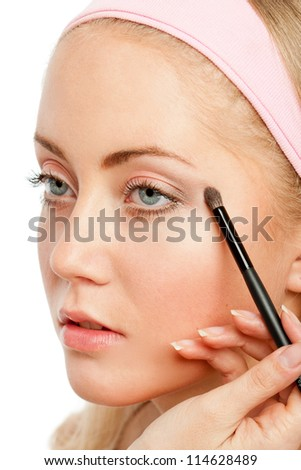 Woman's Make Up.Isolated on white - stock photo