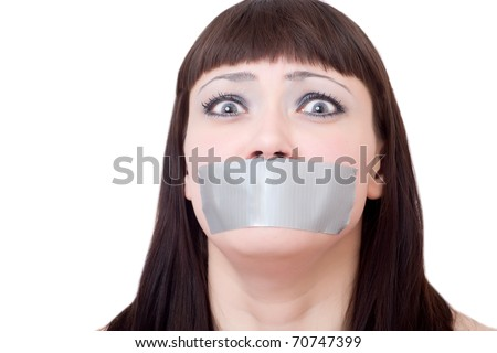 woman's mouth sealed with a scotch tape on a white background - stock photo