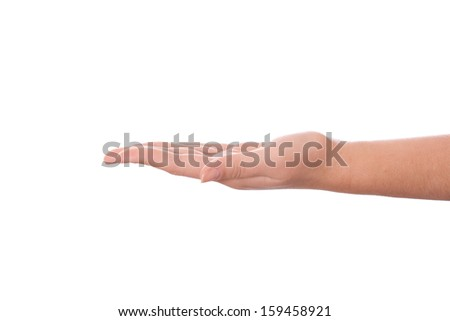 Woman's open hand on a white background - stock photo