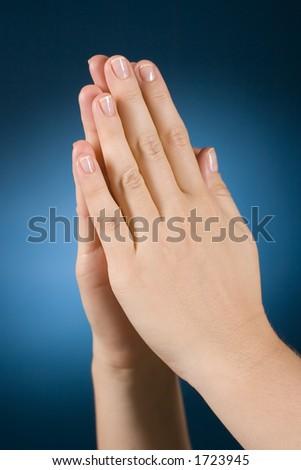 woman's praing hands - stock photo
