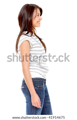 Woman's profile isolated over a white background