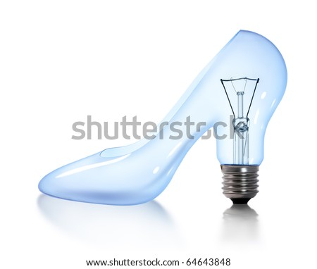woman's shoes tungsten light bulb lamp on white background - stock photo