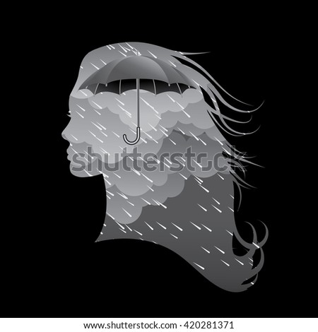 Woman's silhouette with stormy weather.  - stock photo