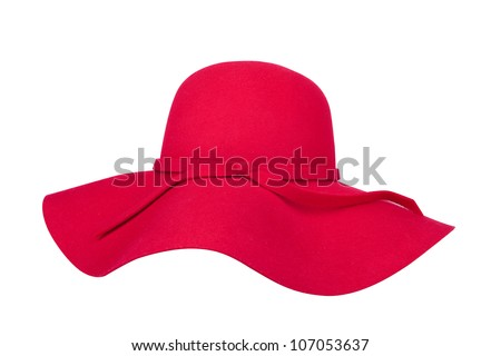 Woman`s summer red straw hat isolated on white background