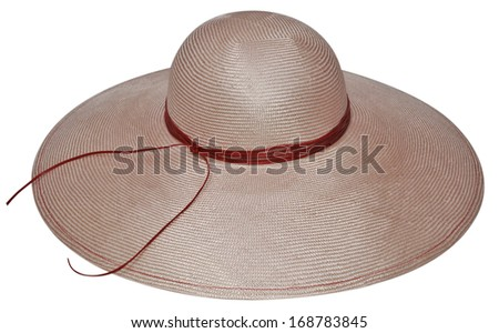 Woman`s summer straw hat isolated on white background