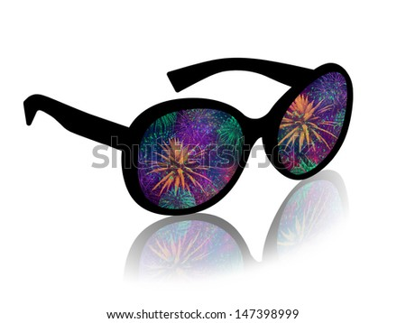 woman's sun glasses with a reflection of a beautiful firework - stock photo