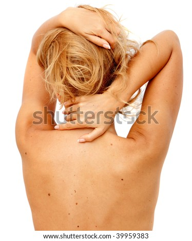 Woman's torso from the back isolated on white - stock photo