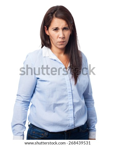 woman sad isolated - stock photo