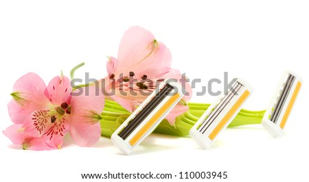 woman safety shavers and flowers isolated on white - stock photo