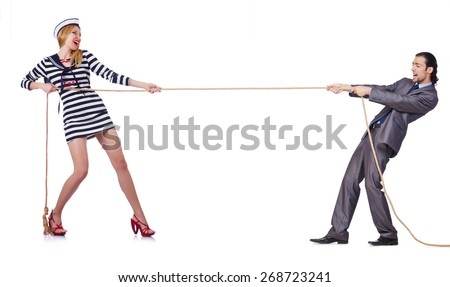 Woman sailor and man in costume isolated on white - stock photo