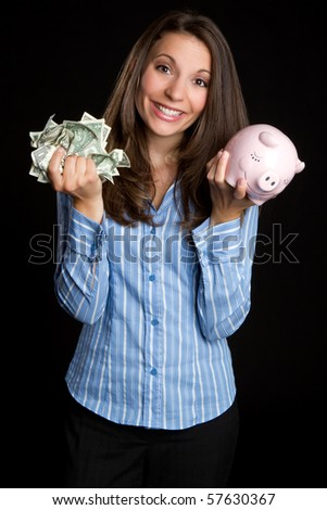 Woman saving money - stock photo