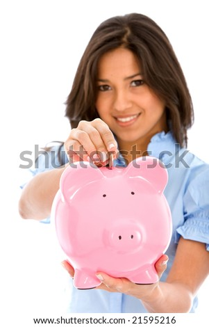Woman saving money in a piggy bank isolated over a white background