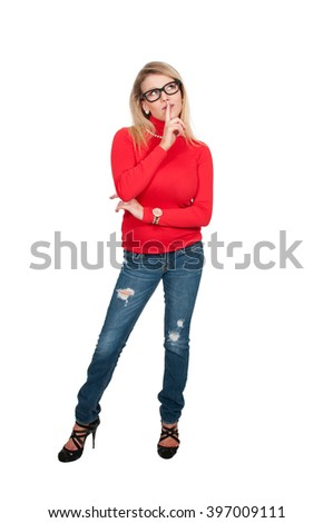 Woman saying be quiet by saying shhh - stock photo