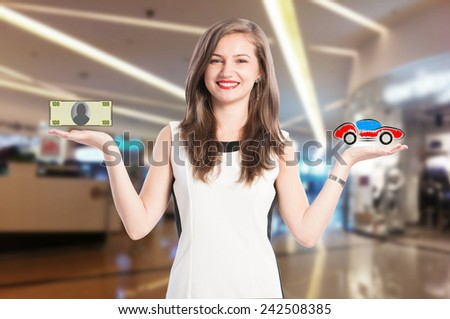 Woman scaling money and new car. Decision to buy an automobile - stock photo