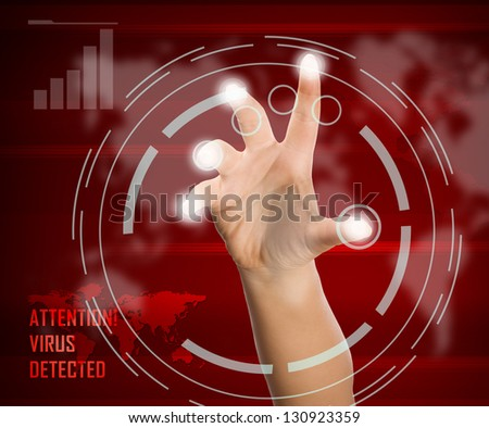 Woman scanning of a finger on a touch screen interface - stock photo