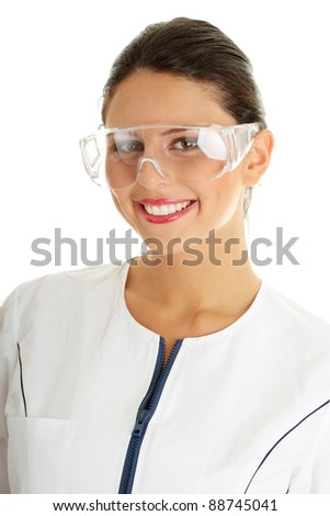 Woman scientist close up portrait, isolated on white