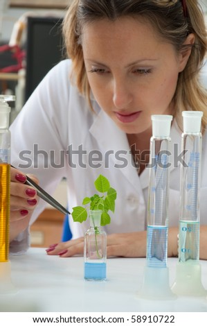 woman scientist working in a lab - stock photo