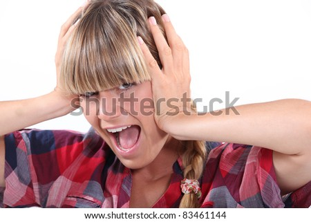 Woman screaming - stock photo