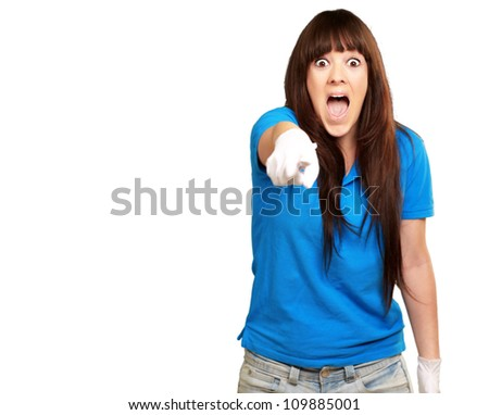 woman screaming and pointing finger isolated on white background - stock photo