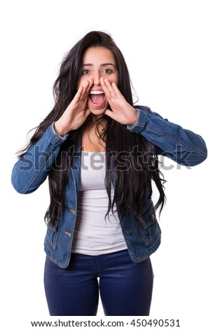 Woman screaming at someone, isolated over a white background