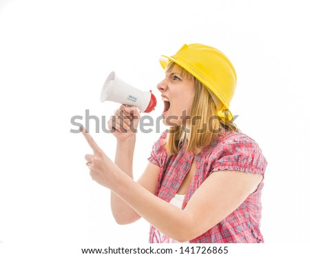 Woman screaming on a megaphone - isolated over white - stock photo