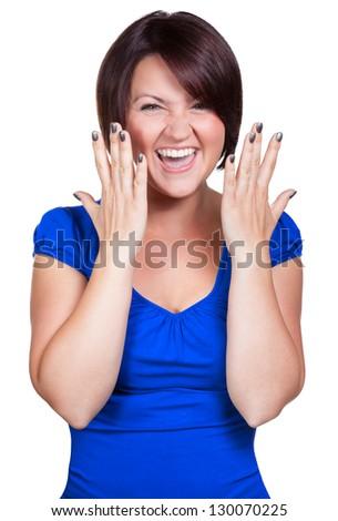 Woman screams for joy - stock photo