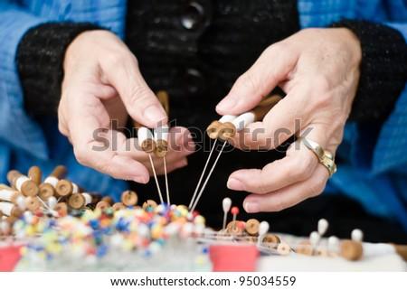 Woman seamstress work - stock photo