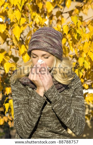 woman season change allergy - stock photo