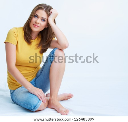 Woman seating portrait. - stock photo