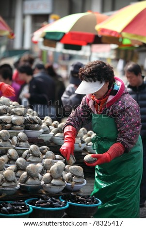 woman selling calms and seafood in traditional Korean wet market - stock photo