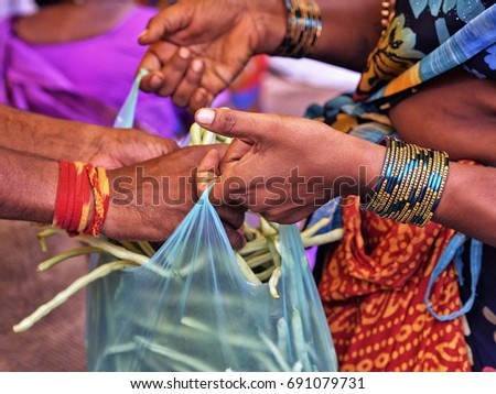 Woman selling green beans