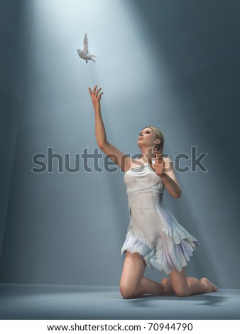 woman send white dove - stock photo