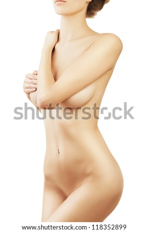 woman sensual body on white background
