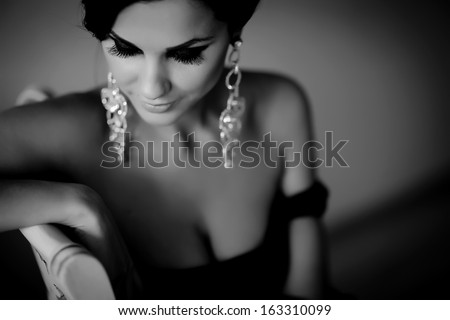 Woman sexy black white photo - stock photo