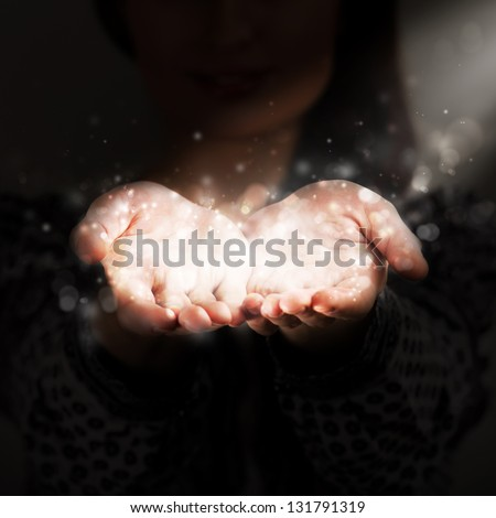 Woman sharing her warmth - stock photo