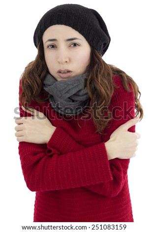 Woman shivering because of cold - stock photo