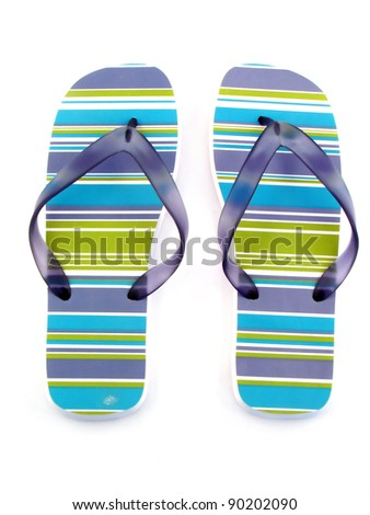 woman shoe for summer and beach isolated on white bacground - stock photo