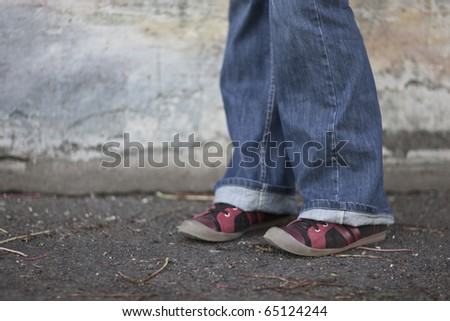 woman shoes close-up in urban environment - stock photo