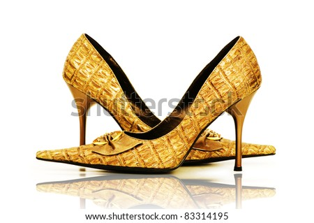 Woman shoes isolated on the white background - stock photo