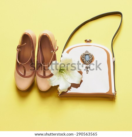 woman shoes with handbag and flower.beauty still life.feminine tricks
