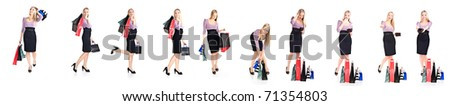 Woman shopper with bags different poses isolated